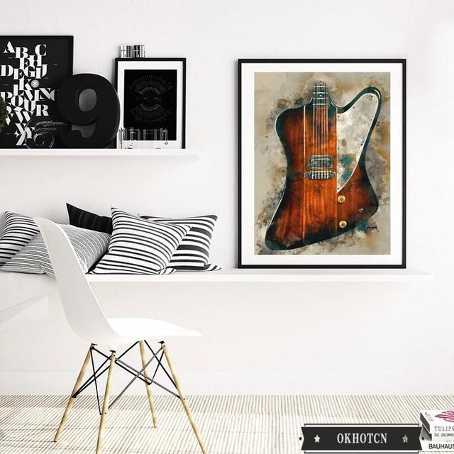 Wall Art Graffiti Painting Rock Guitar Printed on Canvas 3