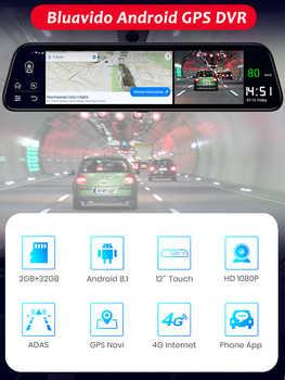"""Bluavido 12\"""" Car Rearview mirror Camera 4G Android 8.1 dashcam 2G RAM 32G ROM GPS Navigation ADAS AUTO video recorder WiFi DVR"""