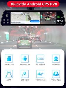 "Image 2 - Bluavido español 12 ""espejo retrovisor para coche Cámara 4G Android 8,1 Cámara 2G RAM 32G ROM GPS navegación ADAS vídeo para automóvil grabadora WiFi DVR"