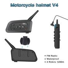 Oreillette Bluetooth V4 pour Moto, appareil De communication pour casque, interphone pour 4 motocyclistes, kit mains libres portée 1200m