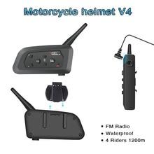 V4 Intercom Intercomunicadores De Casco Moto Helm Bluetooth Headset Intercomunicador Moto Radio 4 Fahrer 1200m Intercom Moto
