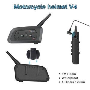 Image 1 - V4 Intercom Intercomunicadores De Casco Moto Helm Bluetooth Headset Intercomunicador Moto Radio 4 Fahrer 1200m Intercom Moto