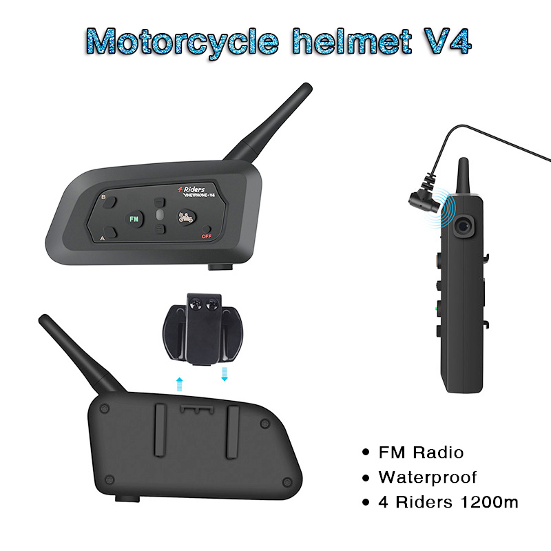 V4 Intercom Intercomunicadores De Casco Moto Helm <font><b>Bluetooth</b></font> <font><b>Headset</b></font> Intercomunicador Moto Radio 4 Fahrer 1200m Intercom Moto image