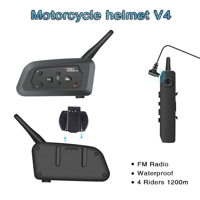 V4 Intercom Intercomunicadores De Casco Moto Helmet Bluetooth Headset Intercomunicador Moto Radio 4 Riders 1200m   Intercom Moto
