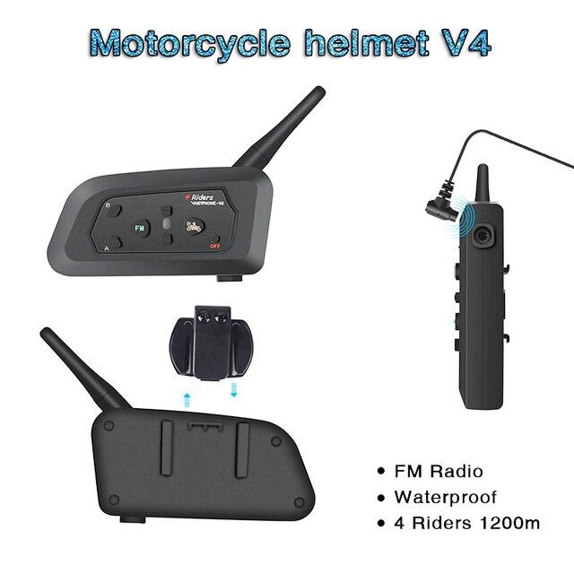 V4 interkom interkom Intercomunicadores De kasko Moto kask bluetooth kulaklık Intercomunicador Moto radyo 4 biniciler 1200m interkom Moto