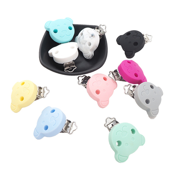 Chenkai 20PCS Silicone Bear Clips Baby Animal Pacifier Clip Dummy Smoother Holder For DIY Infant Chewable Pacifier Chain Gift фото