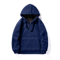 Mens Hoodies Lamb Plush Round Neck Hooded Drawstring Autumn and Winter Solid Color Head Large Capacity Pocket Hoodies Women