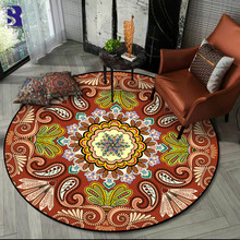 SunnyRain 1-piece Fleece Printed Mandala Area Rug for Bedroom Round Are Rug for Living Room Arear Rug for Kid mandala water absorption coral fleece rug