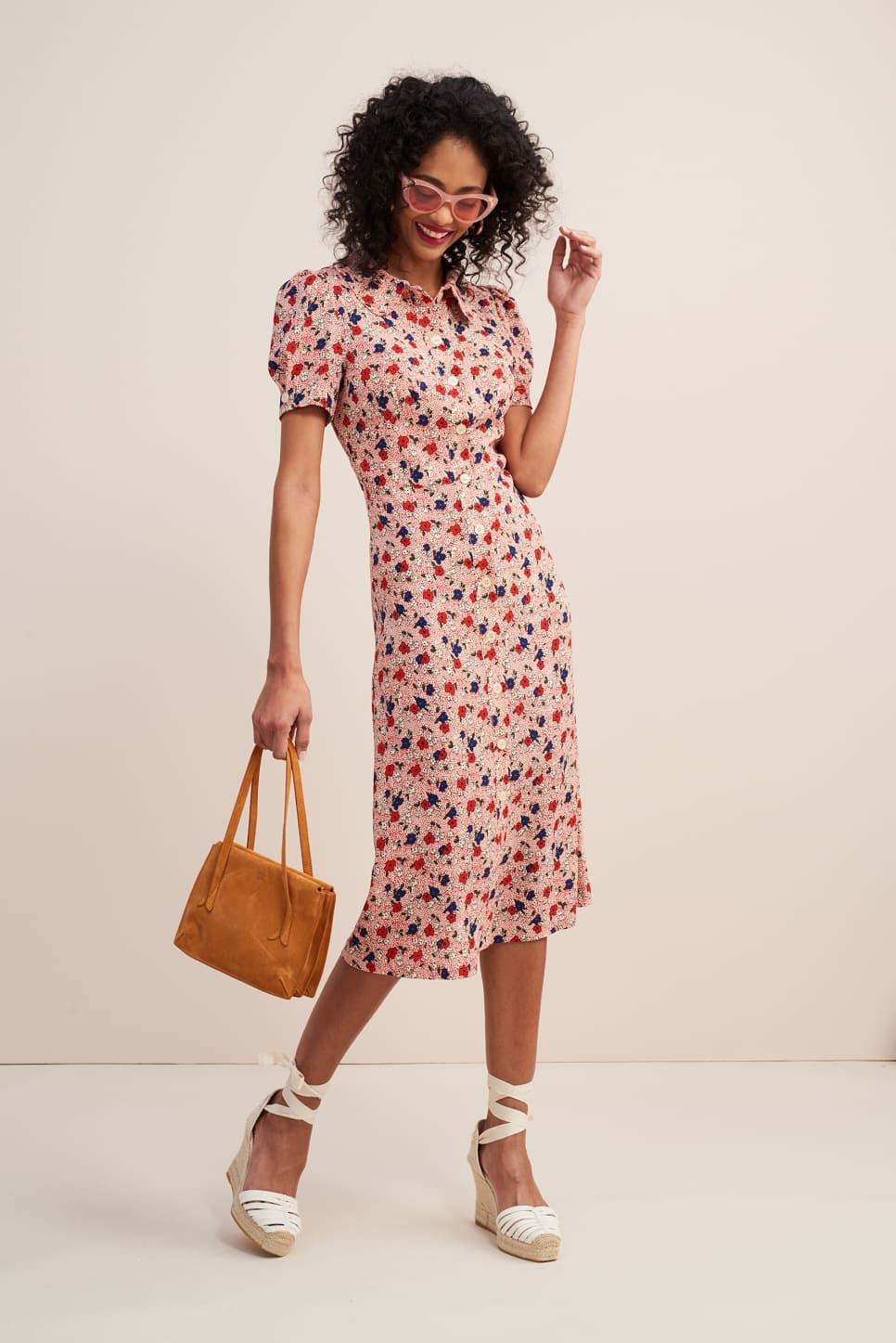 2020 Spring Summer Retro Print Floral Short Puff Sleeve Dress Peter Pan Collar Bubble Sleeve Women Long Dress