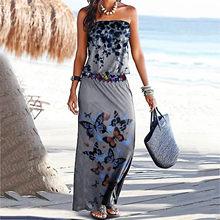 Vintage maxi vestidos femininos verão borboleta impressão plus size strapless vestidos sem mangas vestido de praia vestidos longos de verao