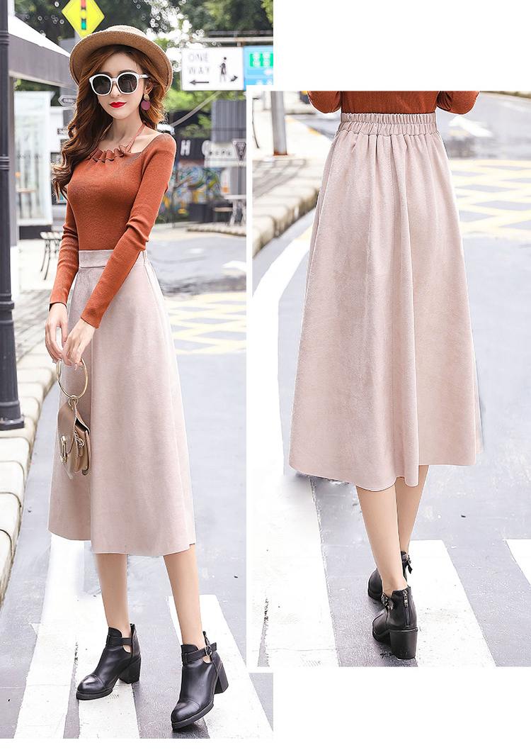 H25a877190c2f4be2945483d0bc5a77c0r - Neophil Women Suede High Waist Midi Skirt Summer Vintage Style Elastic Ladies A Line Black Green Flare Fashion Skirt  S29A4