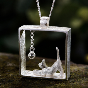 Image 2 - Lotus fun real 925 prata esterlina natal jóias finas 18k ouro moda gato jogando bolas pingente sem colar para mulher