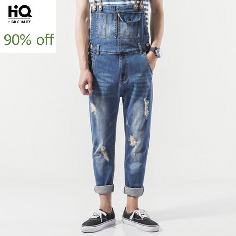 Suspenders Man 2020 Summer Fashion Streetwear Casual Soft Denim Overalls Full Length Hole Ripped Regular Romper Jeans Masculino