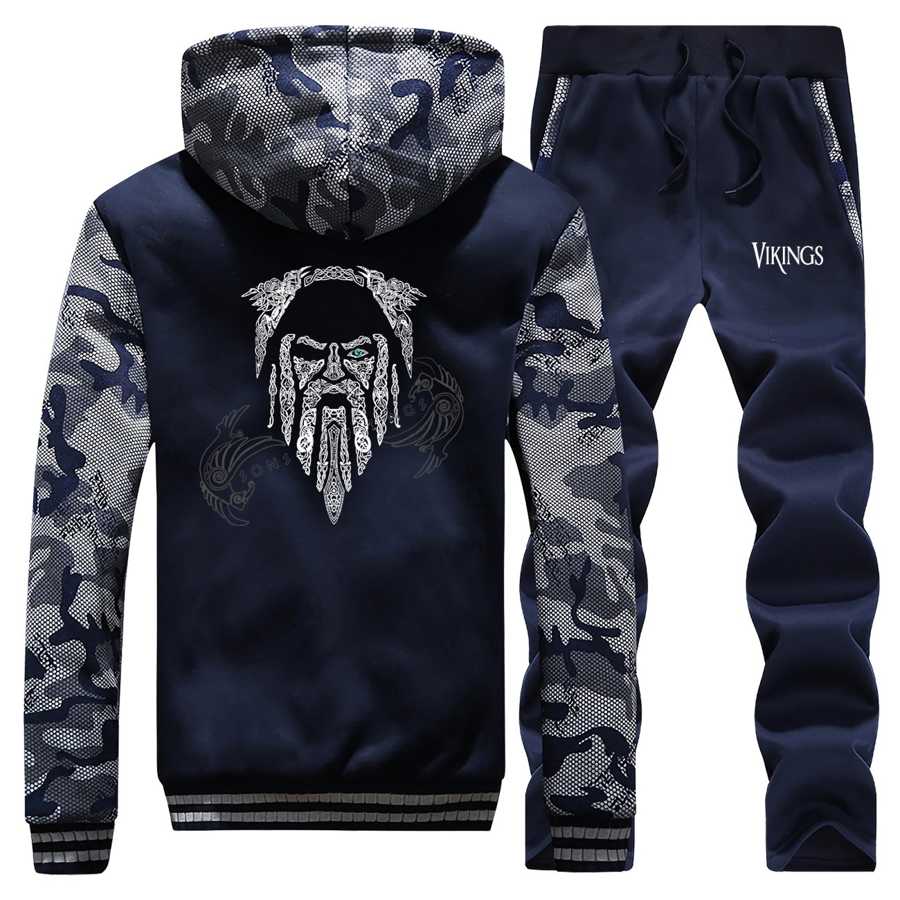 Men's 2019 New Fashion Winter Men Clothing Thick VIKINGS Hooded Outerwear + Pants Set Tide Jacket Set Man Clothing