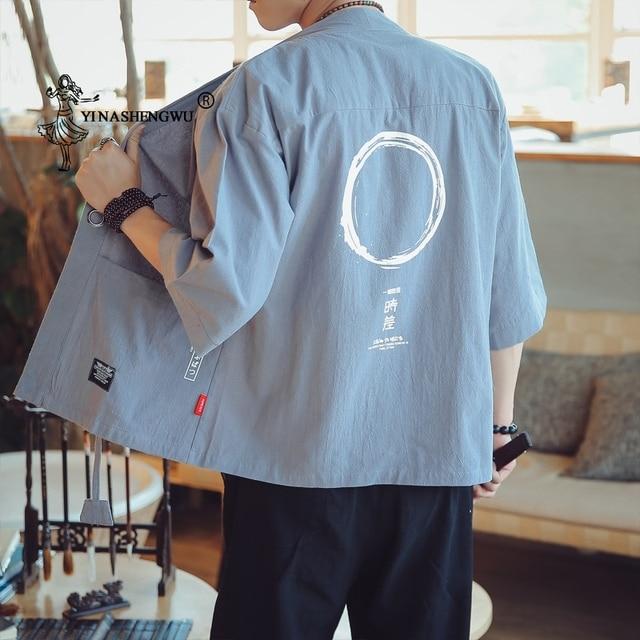 Yukata mężczyźni kardigan Kimono mężczyźni japoński kimona warstwa wierzchnia Kimono przebranie na karnawał drukuj azjatyckie ubrania letnia plaża koszule na co dzień