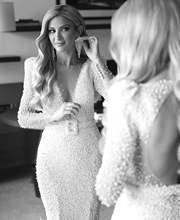 Роскошное Свадебное платье русалки с длинными перьями и шлейфом