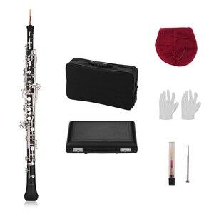 Image 3 - Muslady المهنية Oboe C مفتاح شبه التلقائي نمط النيكل مطلي مفاتيح آلة الرياح الخشبية مع Oboe القصب قفازات جلدية