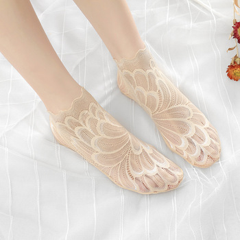 Nylon Socks Women Invisible Low Ankle Lace Short Socks Women's Boat Cotton Lace Stock Sexy Mesh Female Sock kawaii See Through fashion patterned women ankle breathable low sock seamless invisible socks slippers female cotton boat printed short socks