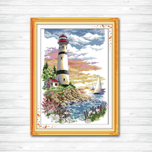 Lighthouse seaside scenery Painting 11CT Counted printed on canvas DMC 14CT Cross Stitch kits Embroidery Home Decor Needlework stamped cross stitch kits joy sunday oil painting girl printed 11ct 14ct counted home decor embroidery handmade needlework sets
