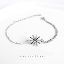 ZOBEI  Real 925 Sterling Silver Personality Sunflower Bohemia Bracelet Fine Jewelry Gold Color For Women Party Accessories Gift