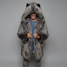 Winter Cardigan Mens Overcoat Warm Thick Faux Fur Coats With Hood Fur Parka Oversized Men Fur Overcoat Warm Faux Fur Jacket Men