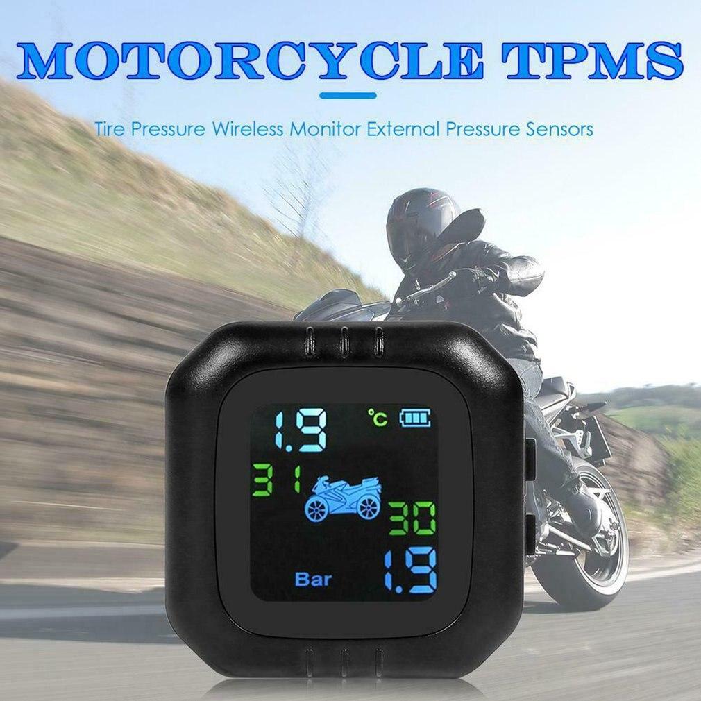Wireless Motorrad Reifen Temp Druck Überwachung System Universal Reifendruck Detektor Tpms Reifen + 2 Sensor Wasserdicht