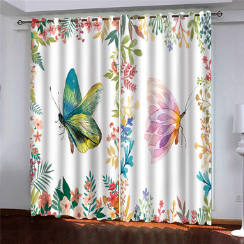 Beautiful Photo Fashion Customized 3D Curtains Color flower butterfly 3d Curtains Blackout for Living Room Kids Bedroom
