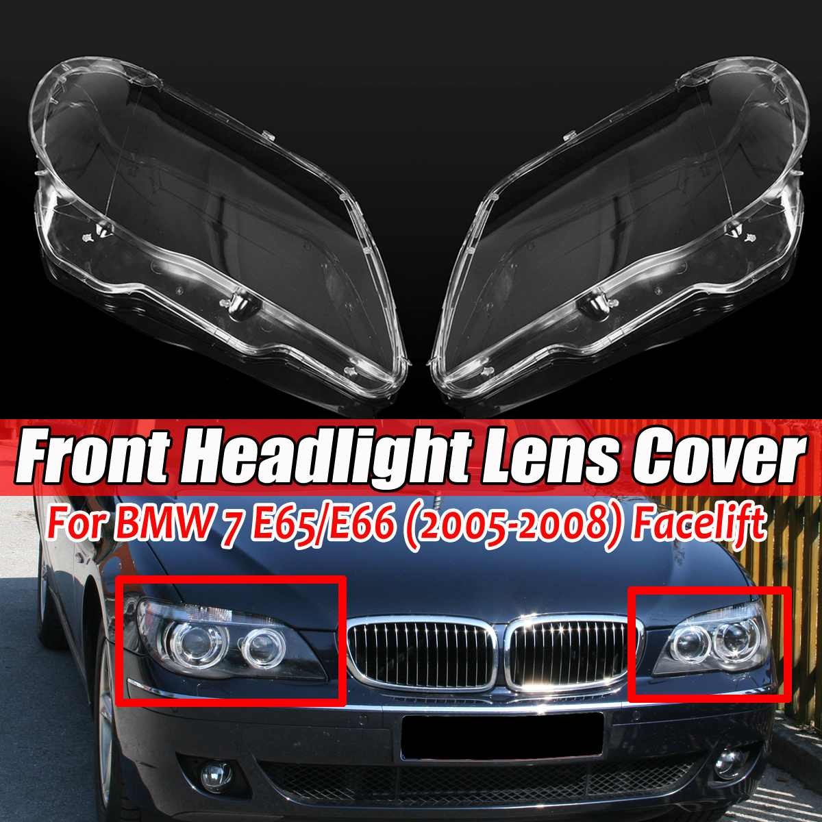 New Car Front Headlight Headlamp Lens Cover Shell For BMW 7 E65 E66 LCI 2005-2008 4769886123 Headlight Lense Cover Trim