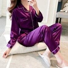 2021 pijamas femininos ternos de calças pijamas de cetim conjuntos de pijamas de manga longa homewear feminino pijamas de seda do falso terno