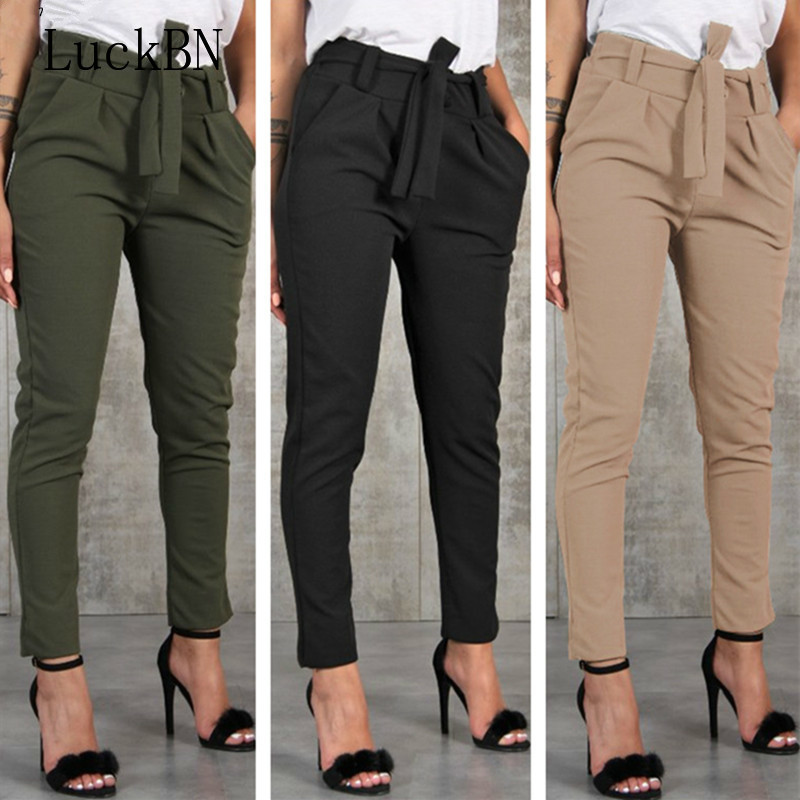 2019 New Summer Autumn Pants Women High Waist Slim Skinny Leggings Stretchy Bow Belt Drawstring Pants Jeggings Pencil Trousers
