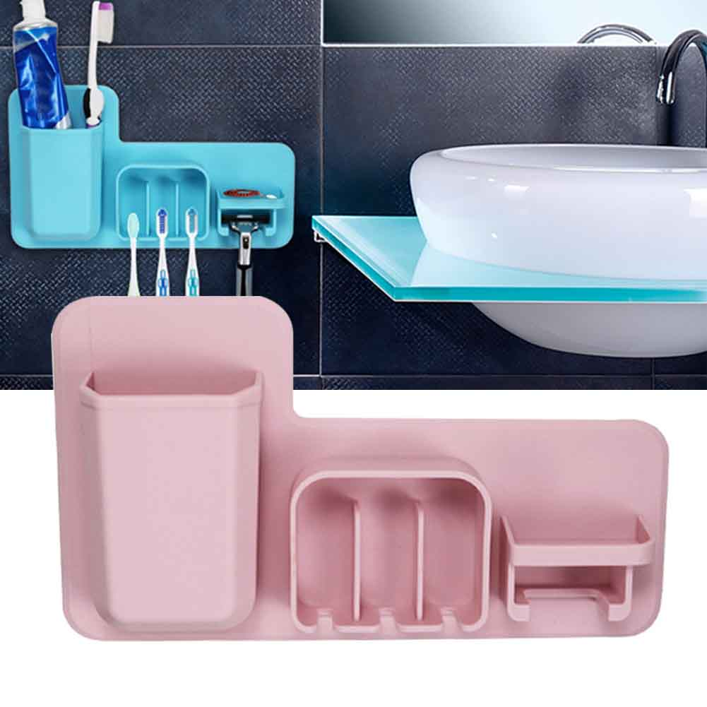 Razor Storage Space Saving Suction Cup Toothbrush Holder Soft Silicone Bathroom Organizer Office Wall Mounted Shower Reusable image