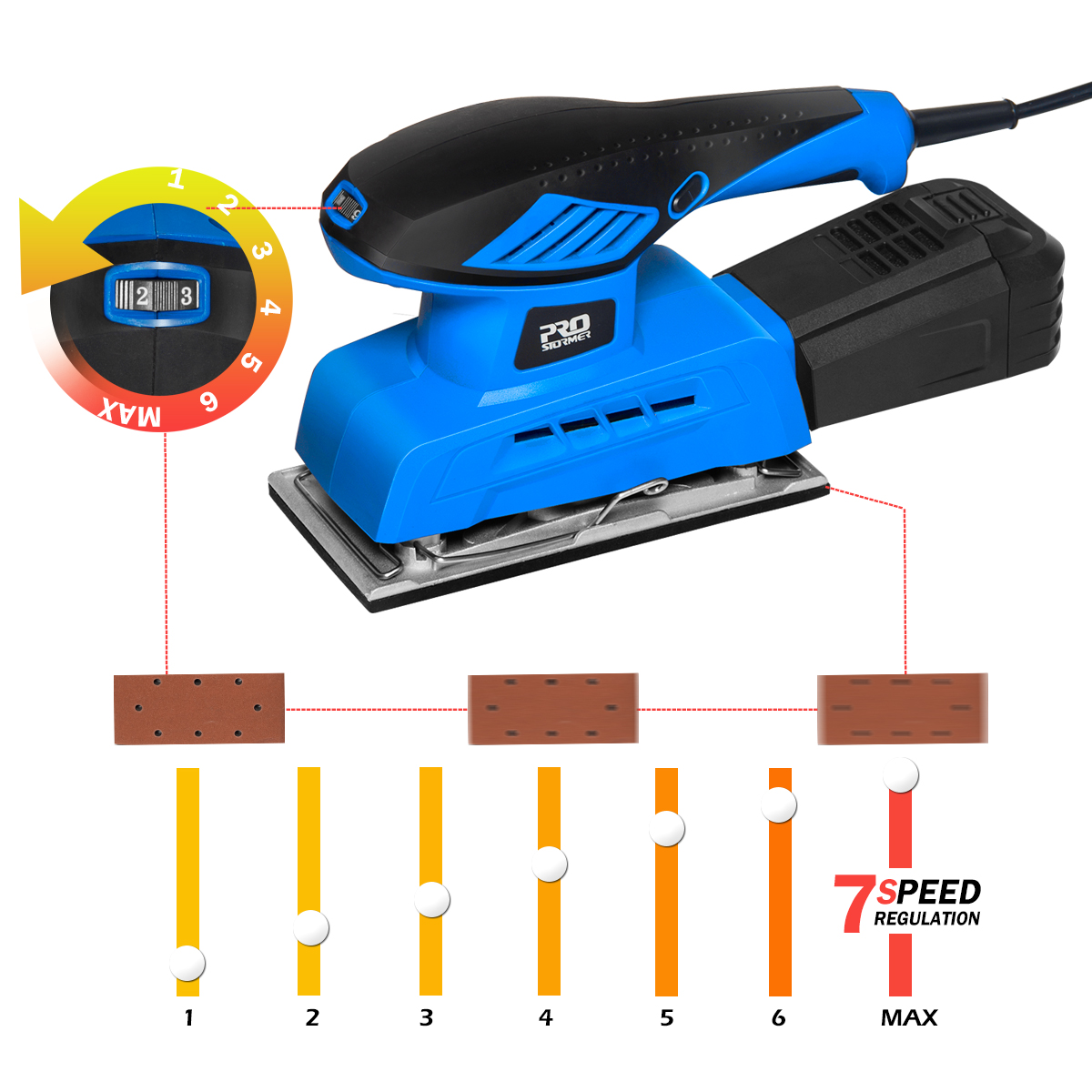 Tools : PROSTORMER 240W Sheet Random Orbit Sander 7 Variable Speed Random Sheet Sander Polisher 20Pcs Sandpapers Strong Dust Collection
