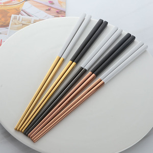 Image 5 - 5 Pairs Eetstokjes Roestvrij Staal Titanize Chinese Gold Chopsitcks Set Black Metal Chop Sticks Set Gebruikt Voor Sushi Servies