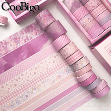Washi Tape Set Masking Tapes Pink Plaid Decorative Adhesive Paper Tape Scrapbooking Sticker Stationery Journal Diary 12pcs/pack