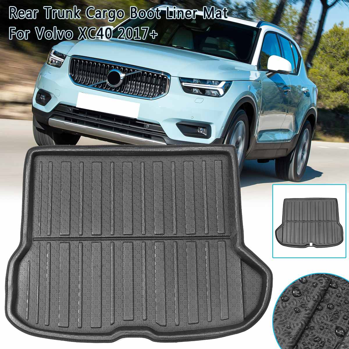 Car Boot Liner Tray For Volvo XC40 2017 2018 2019 Car Rear Trunk Cargo Mat Floor Sheet Carpet Mud Protector Waterproof 1Piece