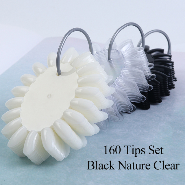 Clear Nature Black False Tips For Nail Art Display Oval Fan Style Nail Swatch Polish Stand Tips Practice Manicure Tools BEA23-1 6