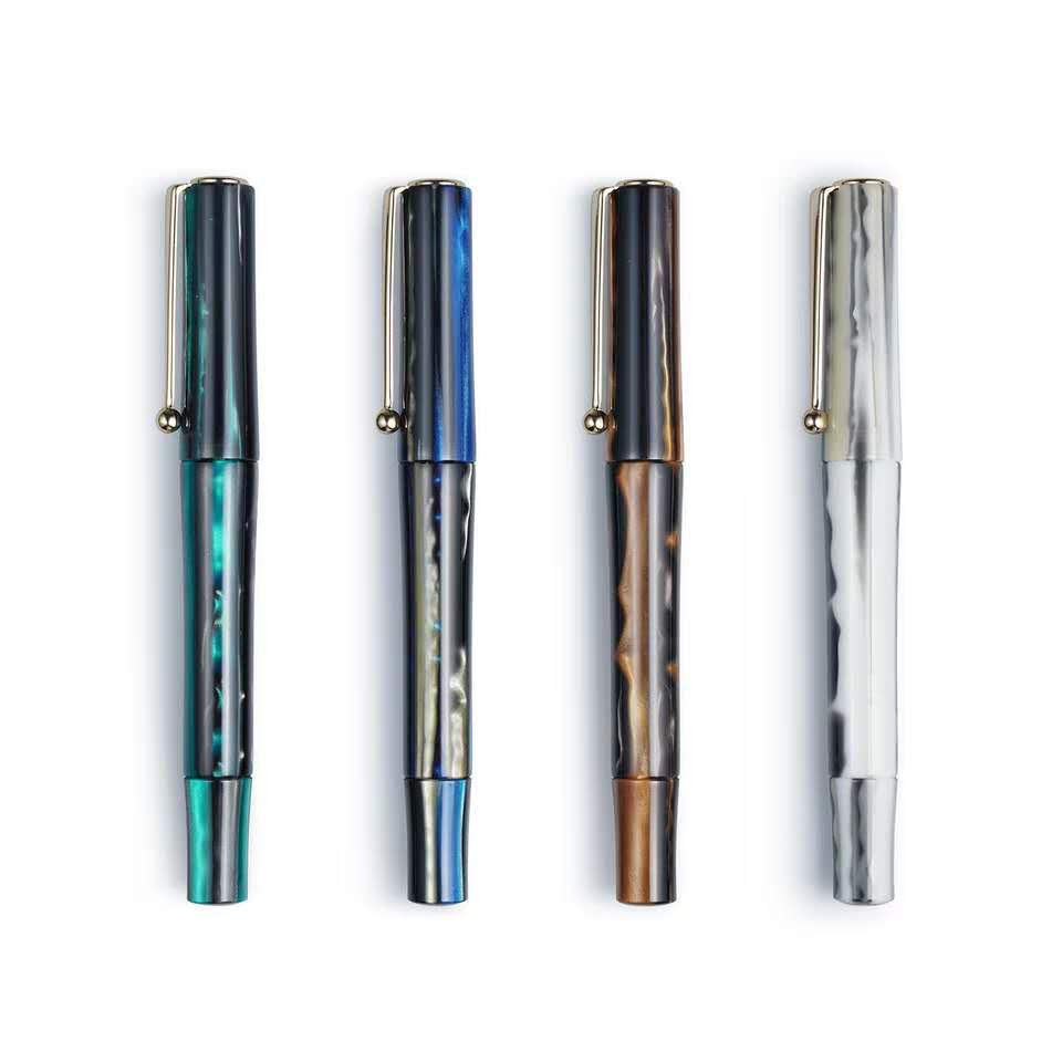 Zizai Beautiful Resin Fountain Pen Ink Pen Schmidt Nib Gold Clip Screw Cap Business Office School Supplies Writing Gift
