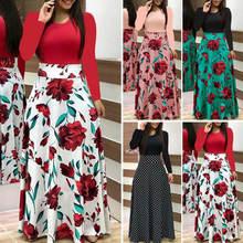 Винтаж Цветочный принт лоскутное длинное платье Для женщин 2019