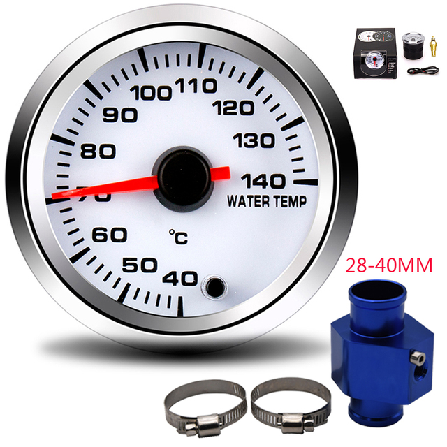 2 52MM Car Water Temperature Gauge 40 140 Celsius With Water Temp Joint Pipe Sensor Adapter 1/8NPT 28 40MM 7 Color Backlight