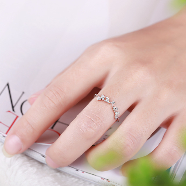 Elegant Crown Diamond 18K Genuine Real True Solid Gold Rings Bands for Women Lady Girlfriend Fancy Upscale Office Jewelry Gift 5