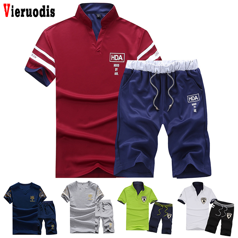 Summer Brand Sets Men Fitness Suit Sporting Suits Male Fashion Tracksuit Clothing Short Sleeve + Shorts 2 Pieces Printed Set