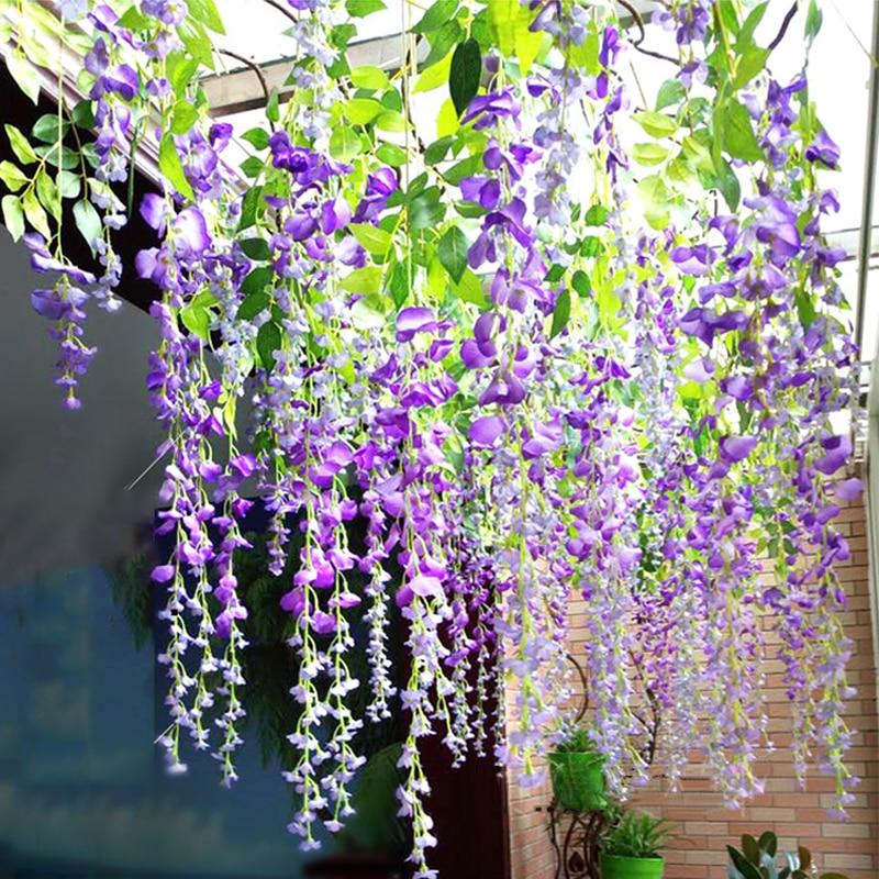 1pc Sutra Bunga Wisteria Buatan Ivy Tanaman Palsu Pohon Garland Menggantung Bunga Untuk Dekorasi Pernikahan Rumah Hotel Dekorasi Buatan Bunga Kering Aliexpress