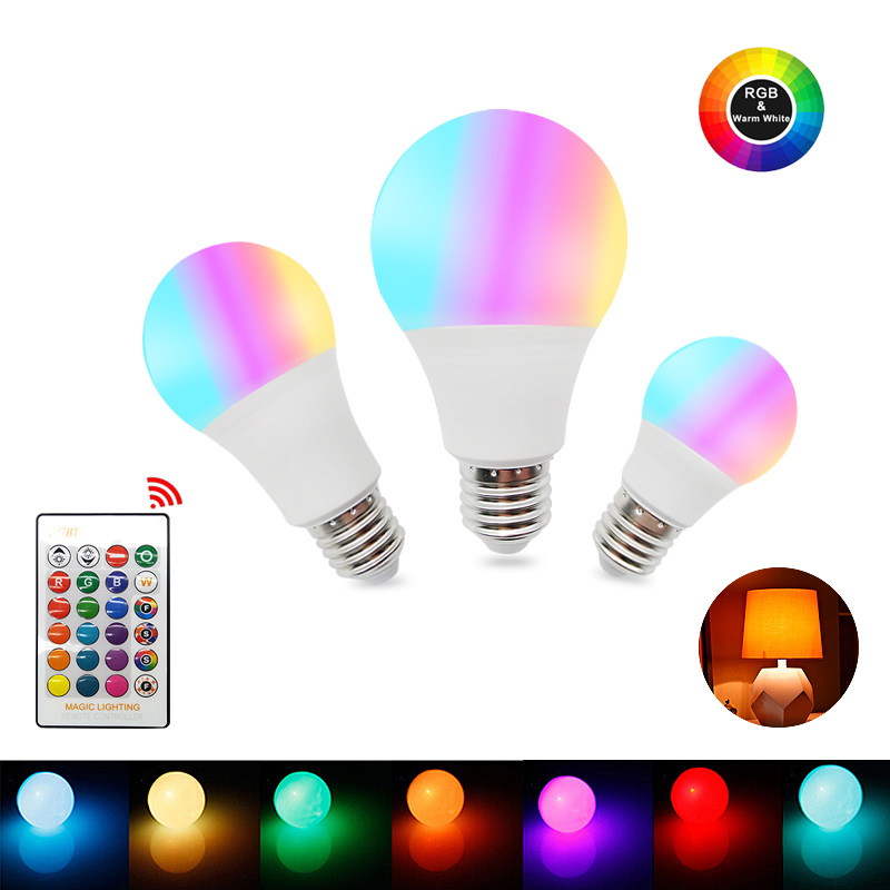 E27 LED 16 Color Changing RGB Magic Led Bulb 5/10/15W 85-265V RGB Led Lamp Spotlight + IR Remote Control LED Bulbs For Home