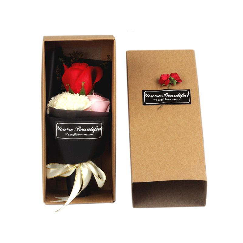 3Pcs Artificial Scented Rose Carnation Bouquet Gift Box Bath Body Soap Flower Gift Wedding Party Favor