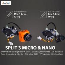 RunCam bölünmüş 3 mikro ve bölünmüş 3 Nano DC5 20V 1080P/60fps HD kayıt ve WDR FPV kamera PAL/NTSC değiştirilebilir 40ms düşük gecikme RC