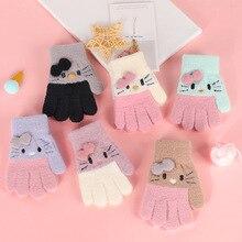 Warm-Gloves Kawaii Knitted Girls Winter Children's Cute Windproof Cartoon for Boys Fluffy