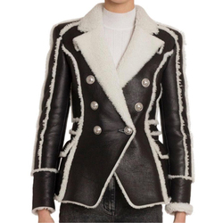 HIGH STREET 2019 Stylish Designer Jacket Women's Double Breasted Lion Buttons Faux Fur Leather Blazer Coat