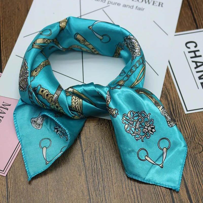 Hot 2019 Hair Scarf Women Silk Feeling Square Lady Wrap Small Office Neck Head Scarves Square Brand Handkerchief Bandana 50*50cm