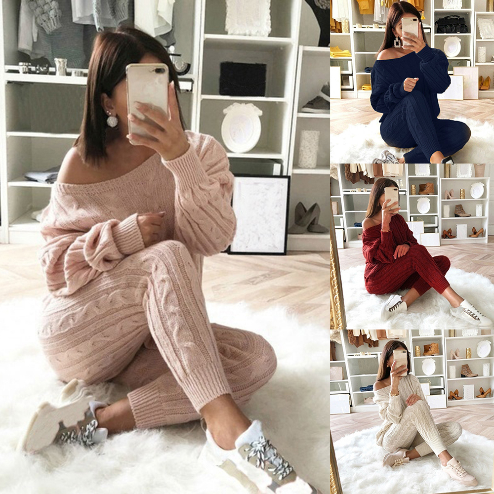 2 Piece Set Knitted Christmas Women Set Outfit Solid Color Autumn Winter Ladies O Neck Pullover Tops+Pants Set Outfits