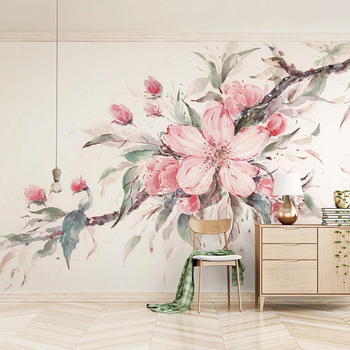 Custom 3D Wall Murals Wallpaper Hand Painted Pink Flowers Large Mural Living Room Bedroom Wall Home Decor Non-woven Wallpaper цена 2017